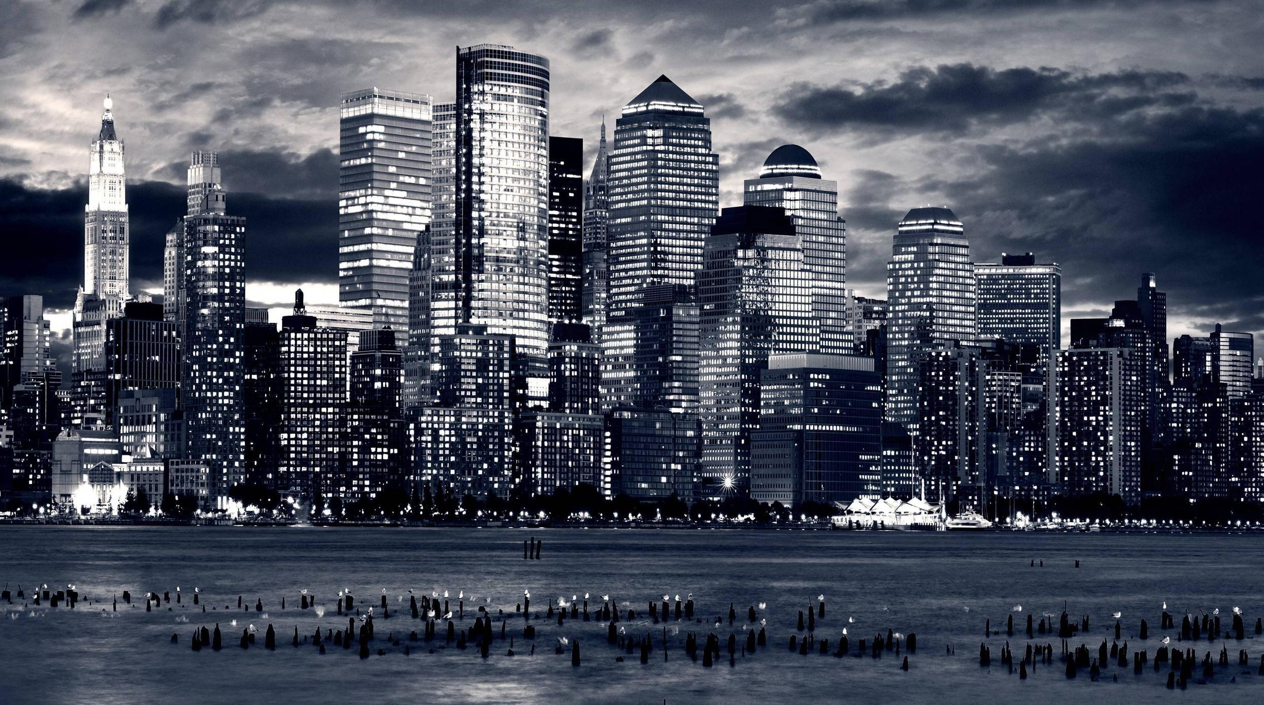 New York City black and white skyline Cities Pinterest