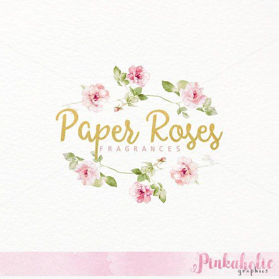 Premade Watercolor Rose Logo Design Watercolor Rose Logo Design Paper Roses