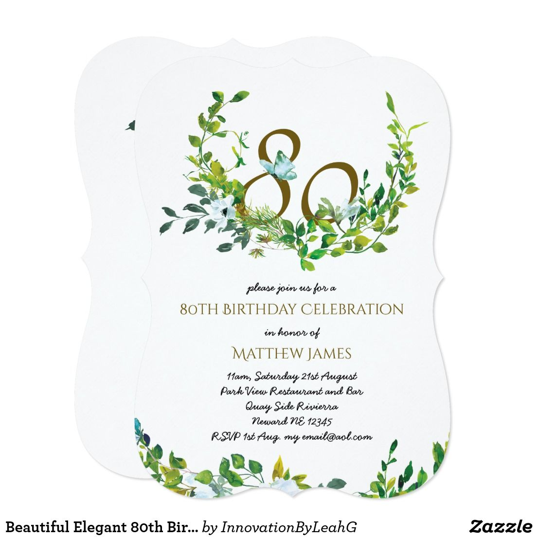 Beautiful Elegant 80th Birthday Invitations Woman Zazzle