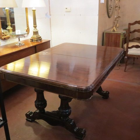 sold. $660. vintage antique walnut jacobean style dining table & 4