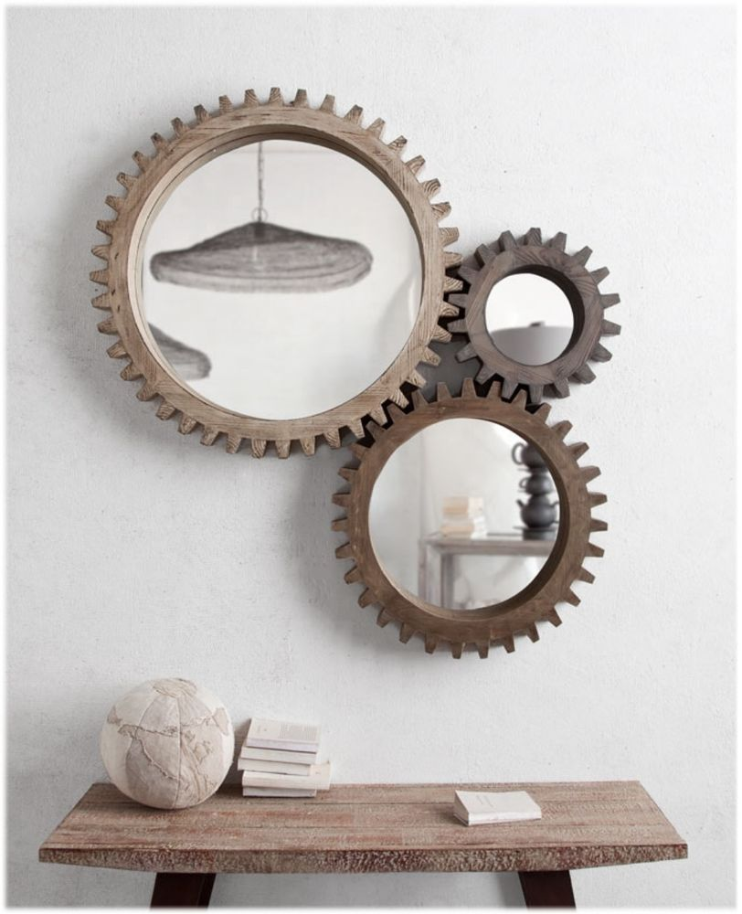 Industrial Wall Mirror industrial cog mirror 3pcs big wood aged factory industrial