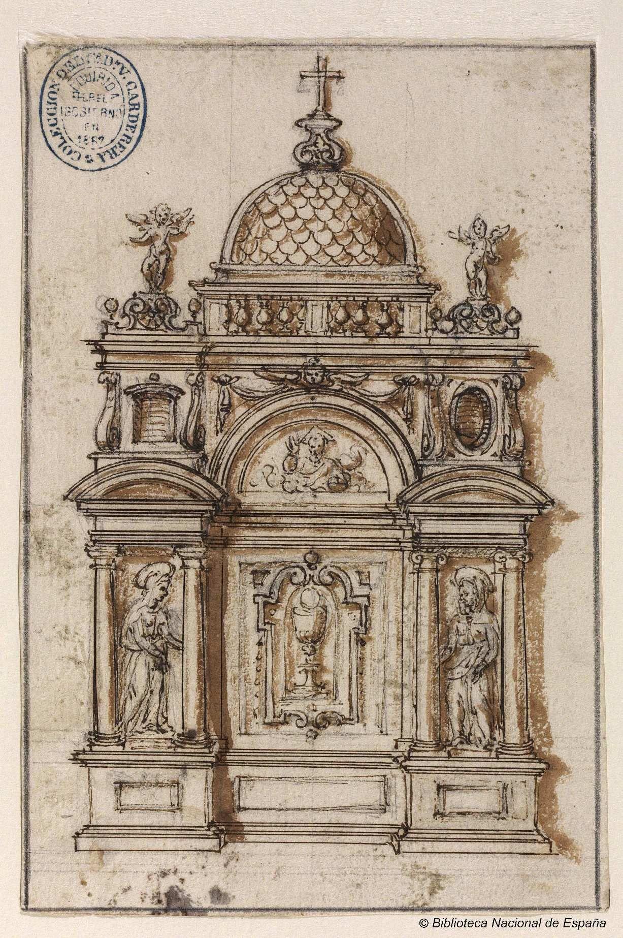 Proyecto de tabernáculo]. Anónimo español s. XVI — Dibujo — 1575 ...