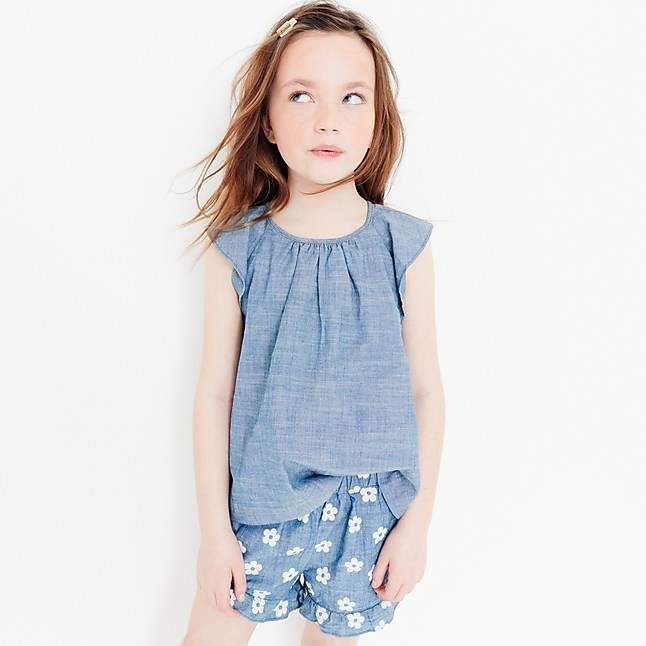 0db7fd14e Girls' ruffle pull-on short in daisy-print chambray #perfect#shorts#cookouts