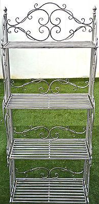Lovely Wrought Iron Four Tier Book Shelf Plant Stand Shabby Chic Indoor Outdoor Ebay