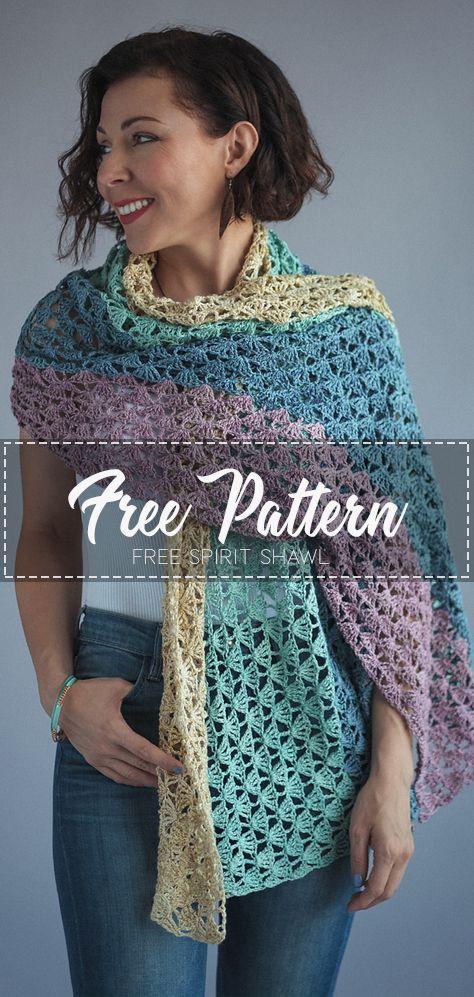 Free Spirit Shawl – Free Pattern #shawlcrochetpattern