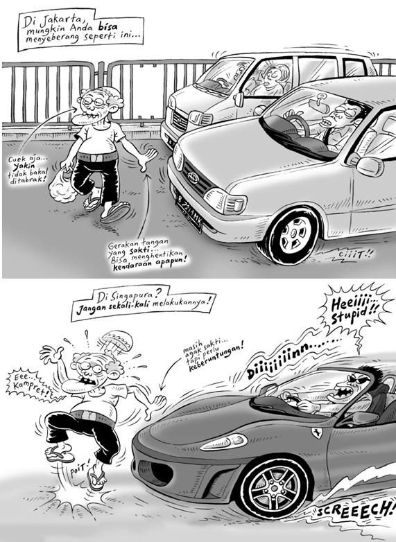 Kartun Benny Tiga Manula Perbedaan Jakarta Singapura Komik Lucu Kartun Momen Lucu