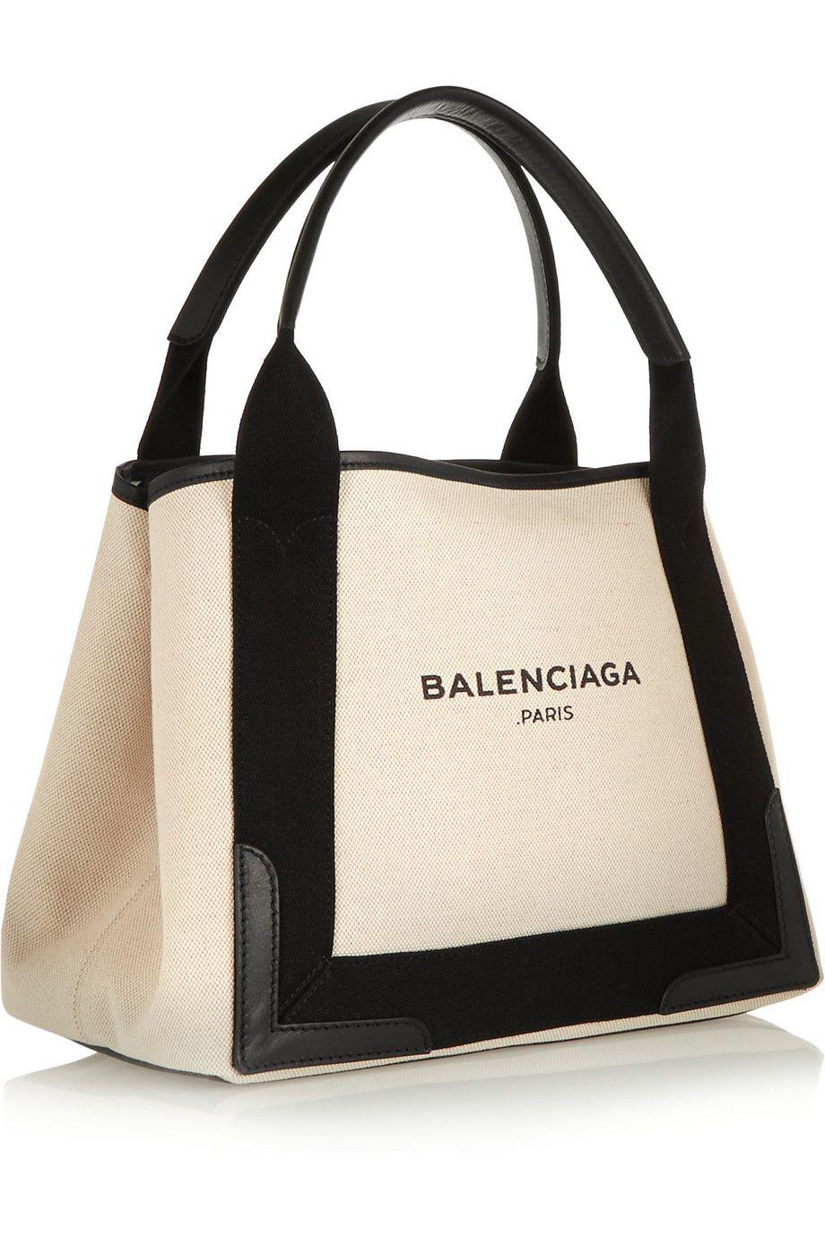 b748966ec Balenciaga | Cabas S leather-trimmed cotton-canvas tote | NET-A-PORTER.COM