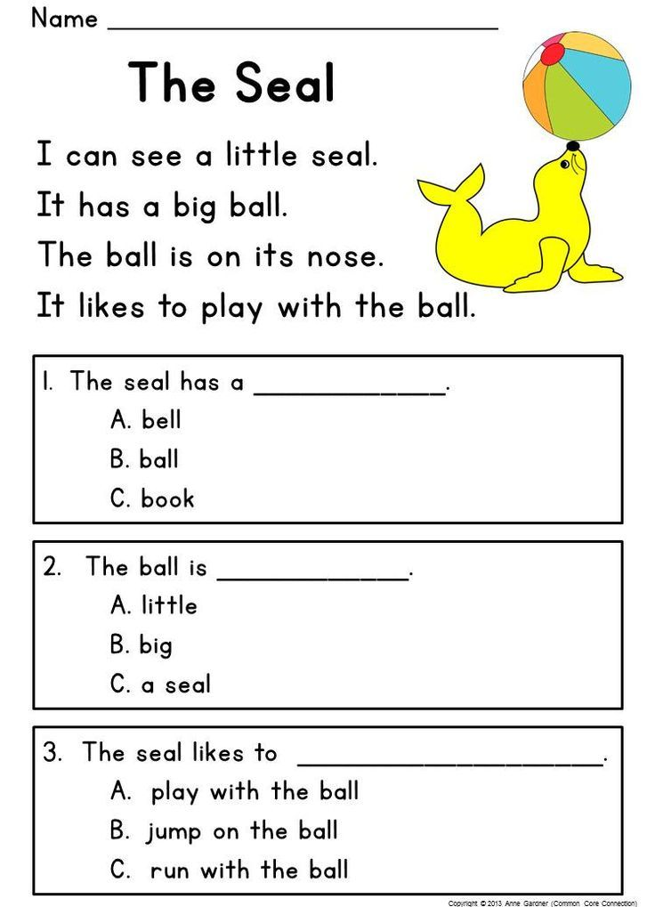 Book Reading Worksheets : Kindergarten reading comprehension passages questions