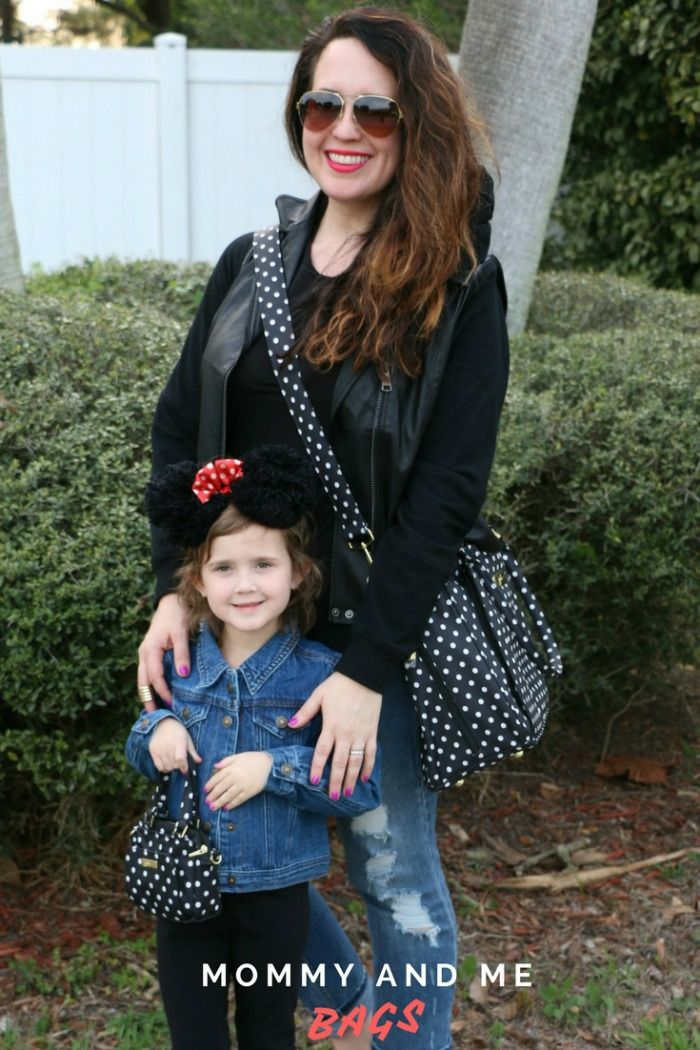 Matching mother daughter bags | Mommy and me bags | mommy and me style | mom and daughter style | Minnie Mouse inspired style | mom fashion | little girl fashion