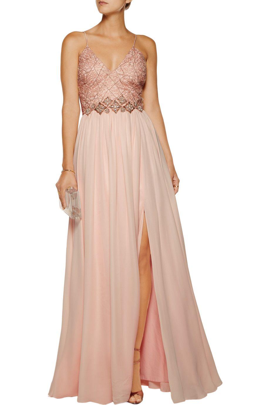Shop on-sale Badgley Mischka Embellished silk-chiffon gown. Browse ...