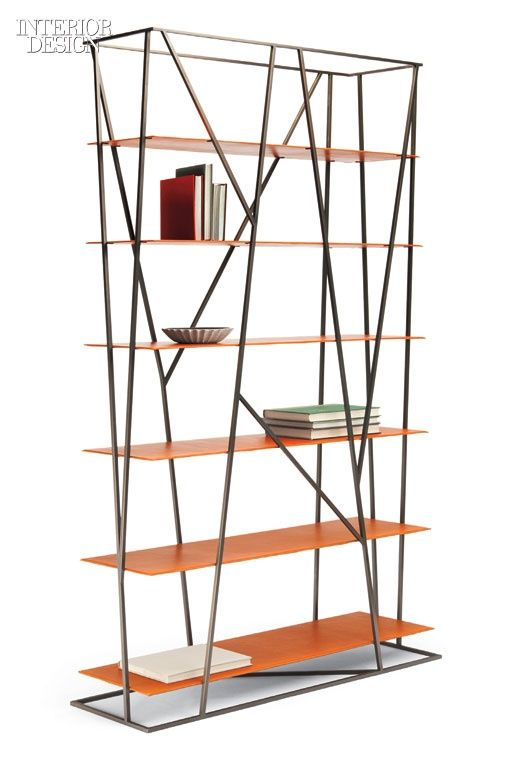 Thicket bookcase in plated steel and leather by Ted Boerner through Dennis Miller Associates.