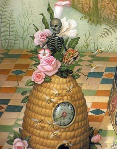 cb3605b017e Mark-Ryden-Creatrix-Detail-Bee-Hive-Honey-Skeleton-Pink-Rose -Clock-Emo-Gothic