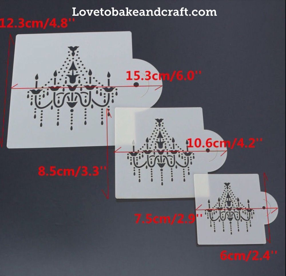 Cake Stencil Chandelier Wedding Stencils Decorating 4 Piece Set