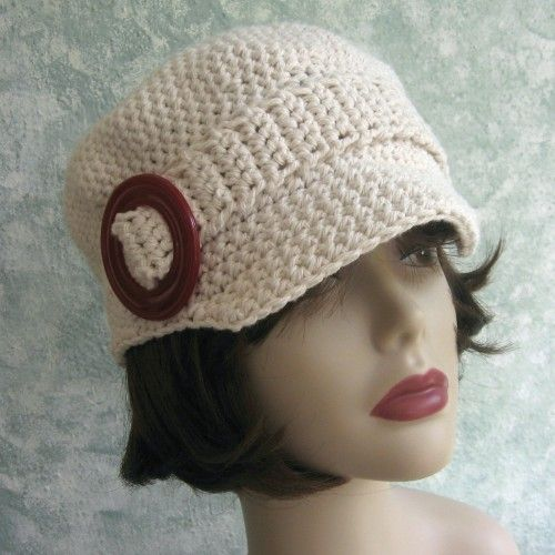 Crochet Pattern Womens Crochet Newsboy Visor Hat With Buckle Trim PDF
