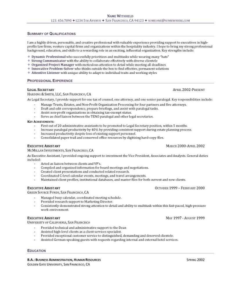 company secretary resume sample - Secretary Objective For Resume Examples