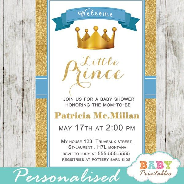 an elegant blue and gold royal prince baby shower invitation to celebrate the arrival of your