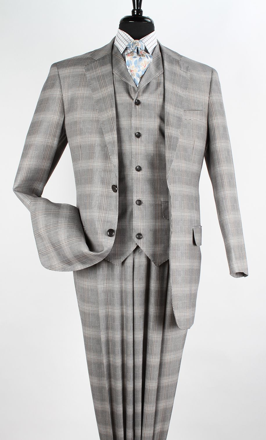 Clothing, Shoes, Accessories Reasonable Apollo King Classic Fit Charcoal Gray Glen Plaid Two Button Pleated Wool Suit Men's Clothing
