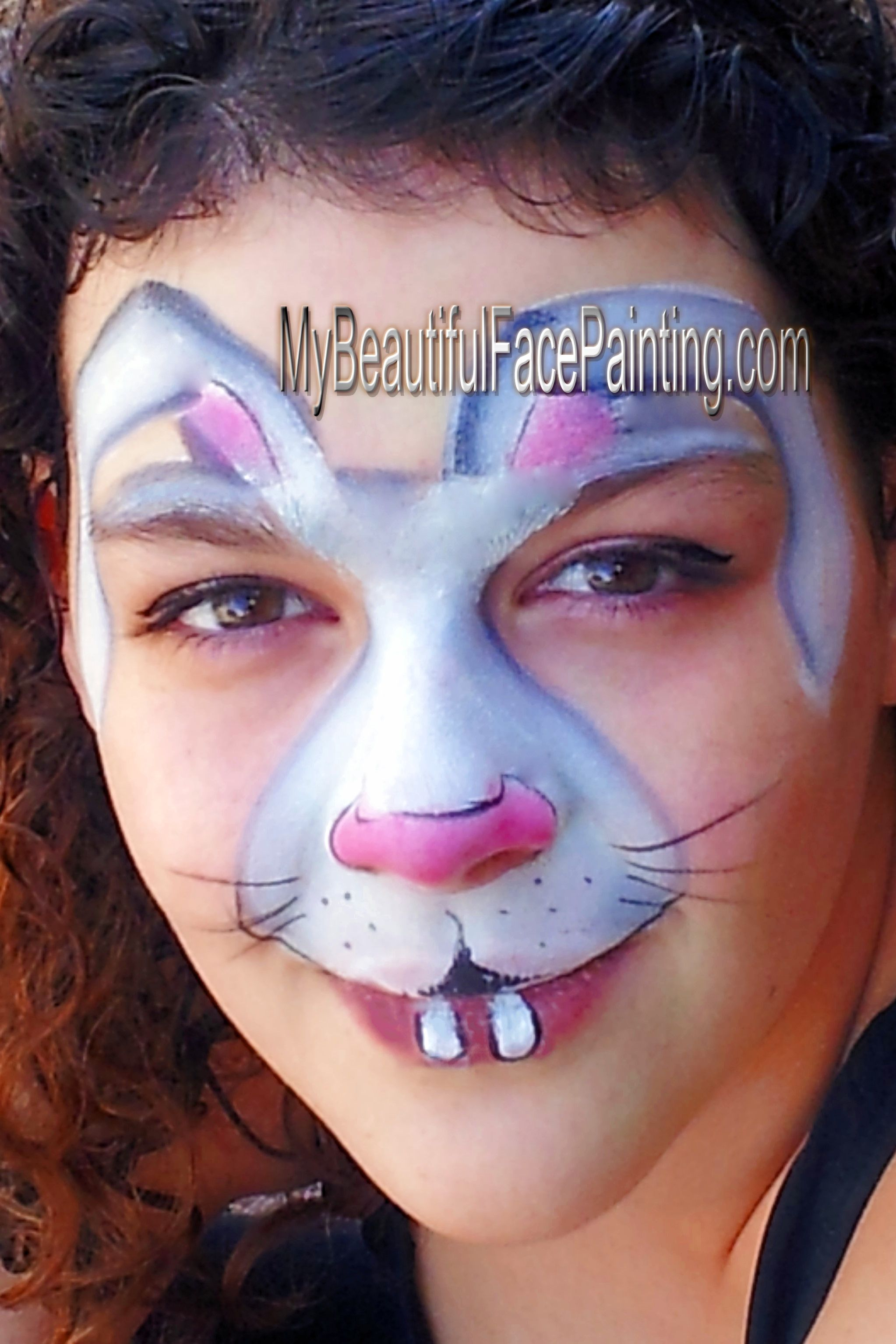 Easter bunny face paint tag white and grey split pink is