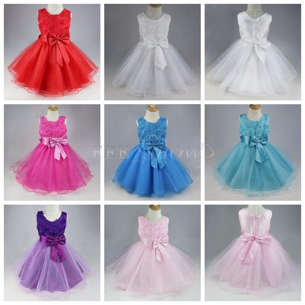 Blumen-Mädchen Kinder Festkleid Hochzeit Kommunionkleid Baby ...