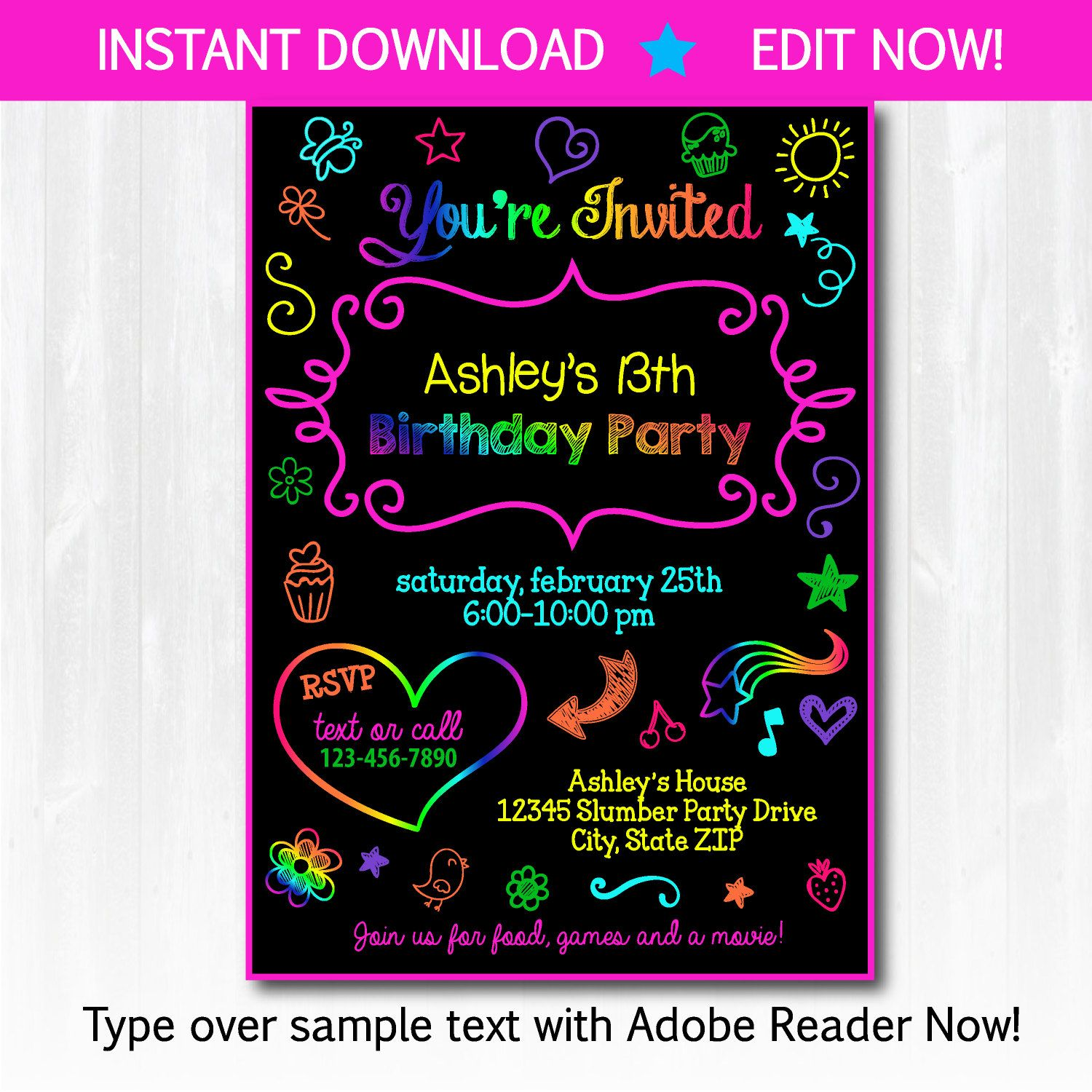 Glow Party Invitations - Slumber Party Invitations - Doodle Party ...