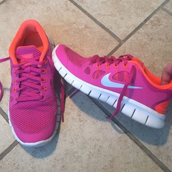 8d871ce1e412 Nike free runs Used but still has a lot of life left to them!! Great bright  colors! Nike Shoes Athletic Shoes