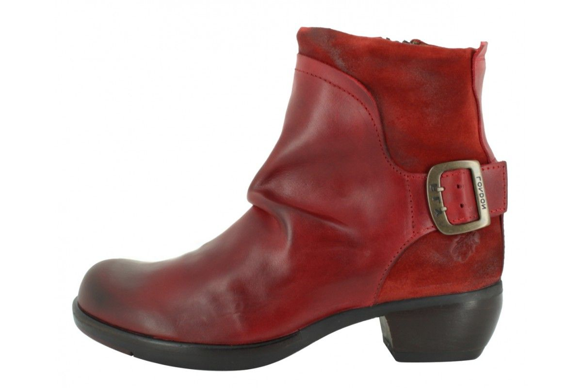 a04d8a79f44c Fly London Mel Rug Red Leather Women s Low Heel Ankle Boots