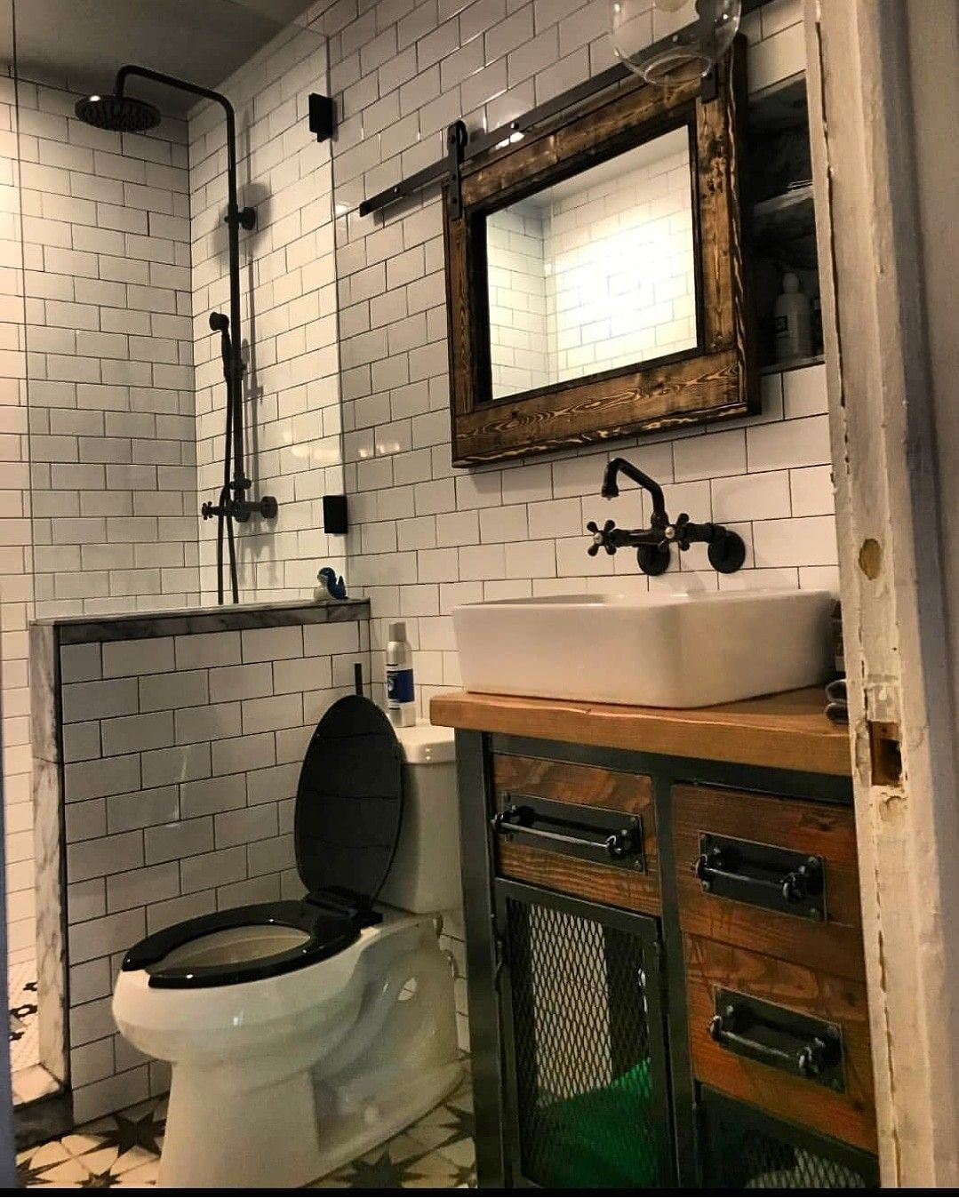 Vintage Industrial Bathroom Vanity Storage Cabinet Vintage