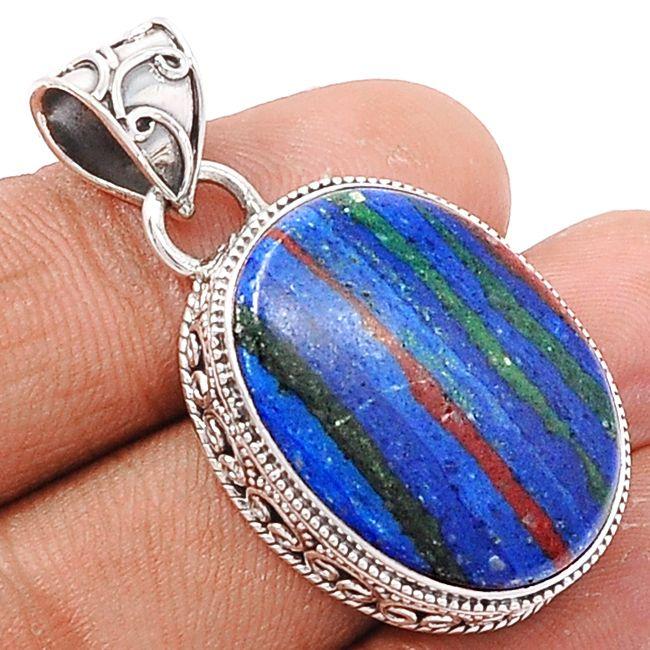 Rainbow Calsilica 925 Sterling Silver Pendant Jewelry RBCP597 - JJDesignerJewelry