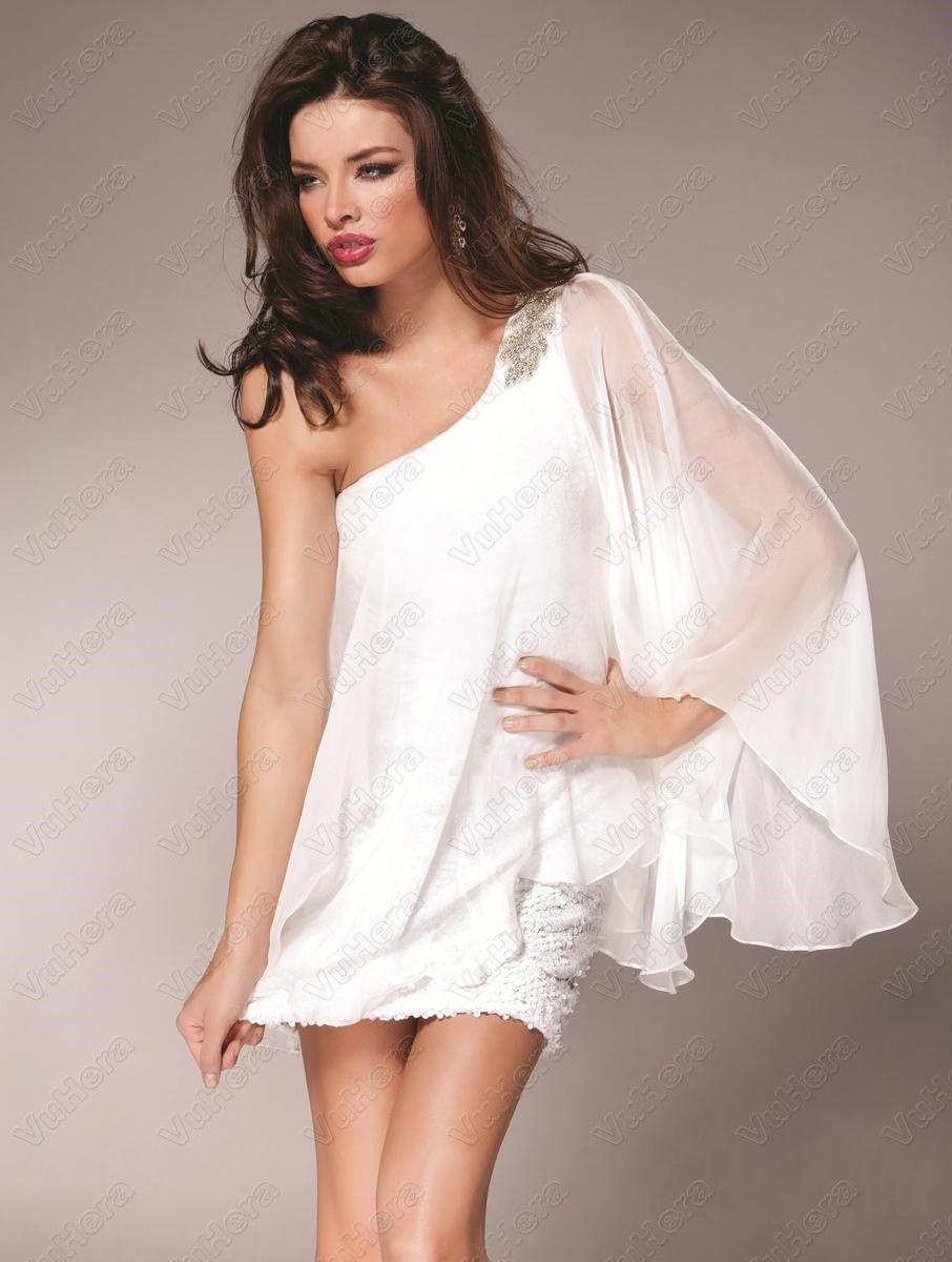White One Shoulder Short Dresses