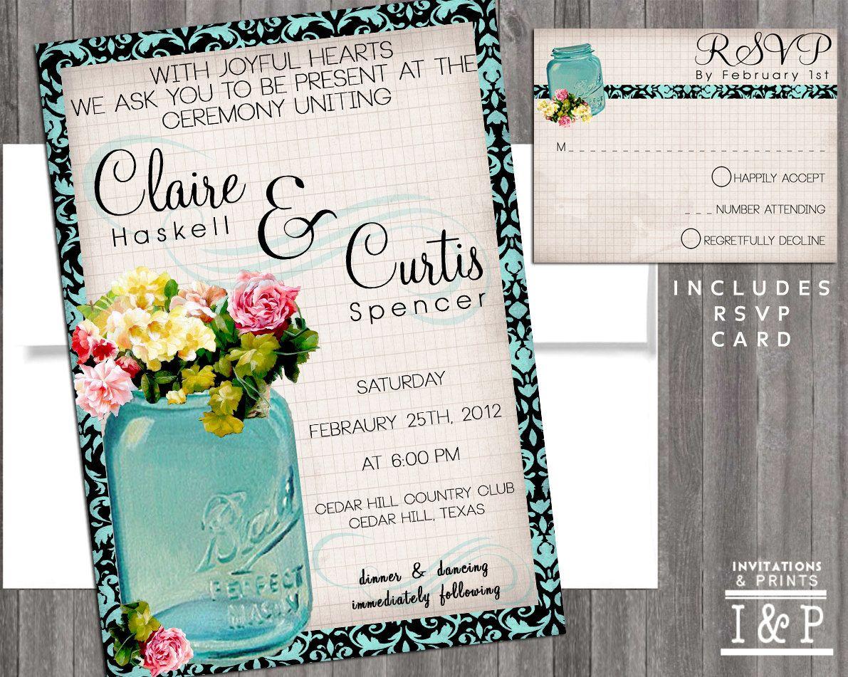 Vintage Mason Jar Wedding Invitation- printable template diy print ...