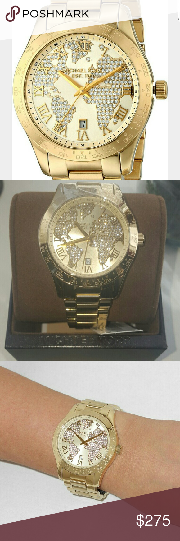 Mk rose gold tone watch nwt stainless steel bracelet bracelet michael kors womens layton gold bracelet watch gold tone dial with pav world map new never been worn tag is still attached i do have the box 44mm mk5959 gumiabroncs Choice Image