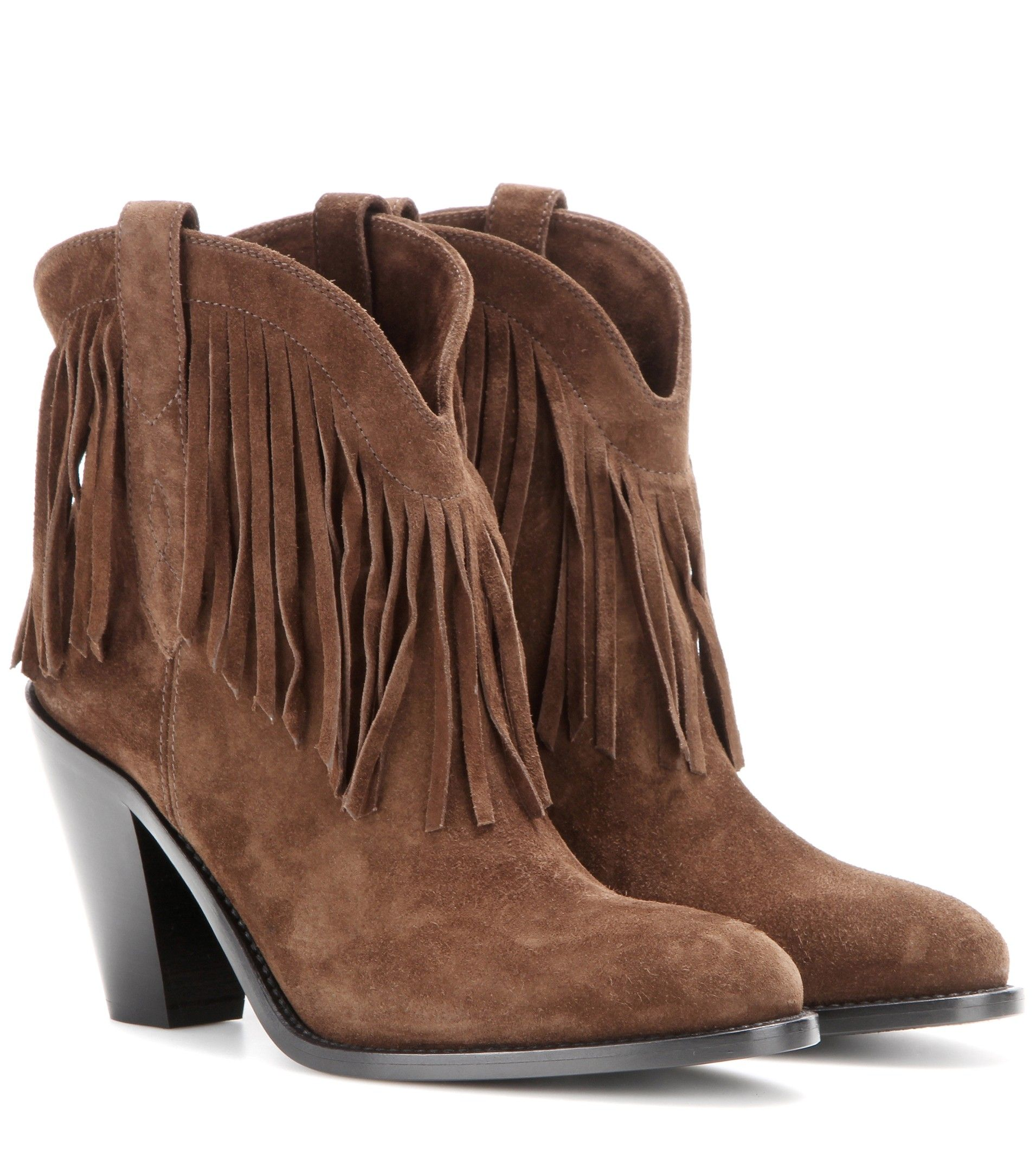 6cca1cfe4cb Saint Laurent Curtis 80 fringed suede cowboy boots Coffee $159.00 ...