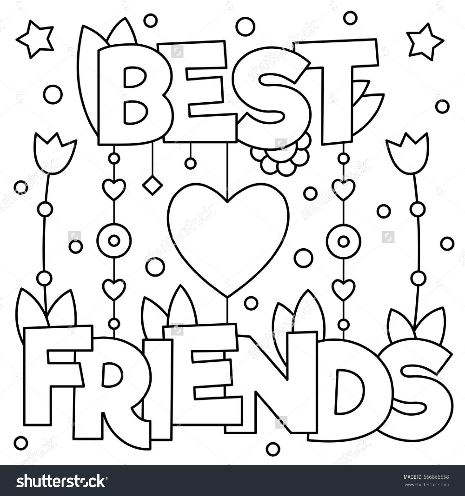 Best friends. Coloring page. Vector illustration. | Word & Quotes ...