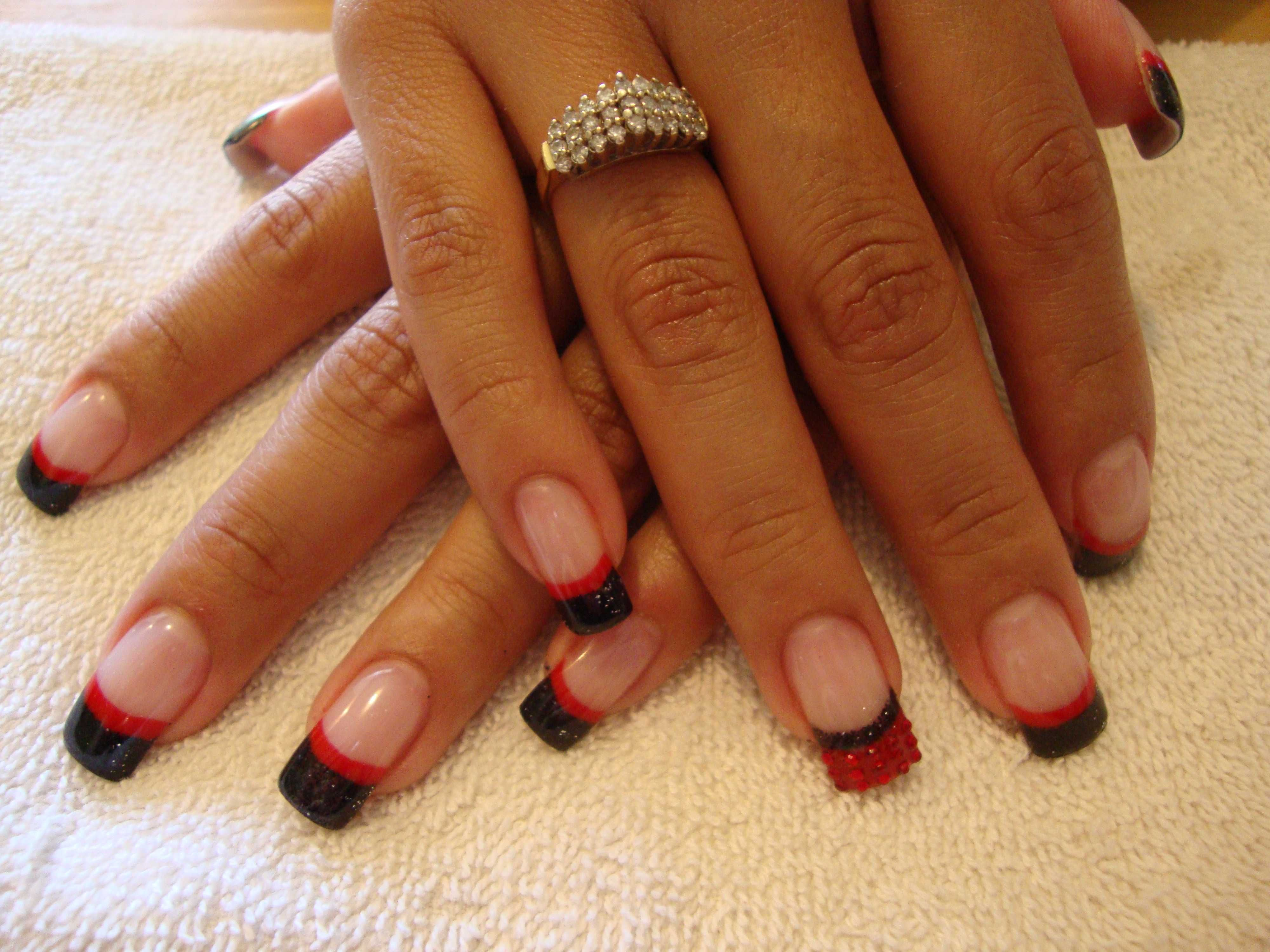 I like the red and black french tips   Nail art   Pinterest   Black ...