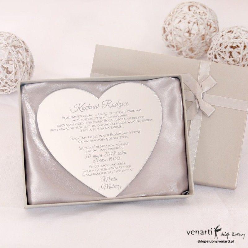 Serce Lustrzane Zaproszenia ślubne Dla Rodziców Kod Dp005