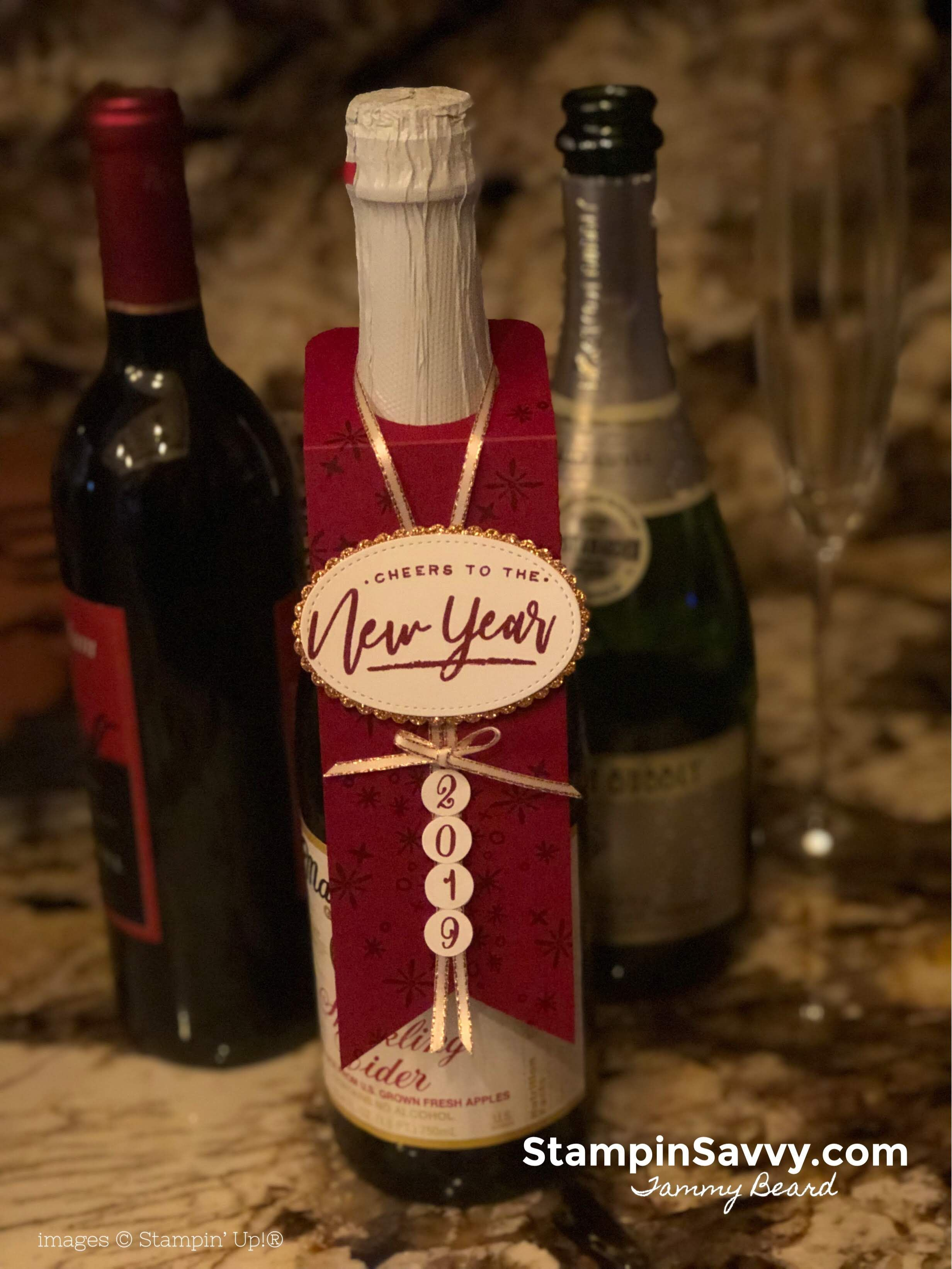 Wine Bottle Tag New Years Host Gift Stampin Savvy Wine Bottle Tags Wine Bottle Wine Bottle Gift Tags