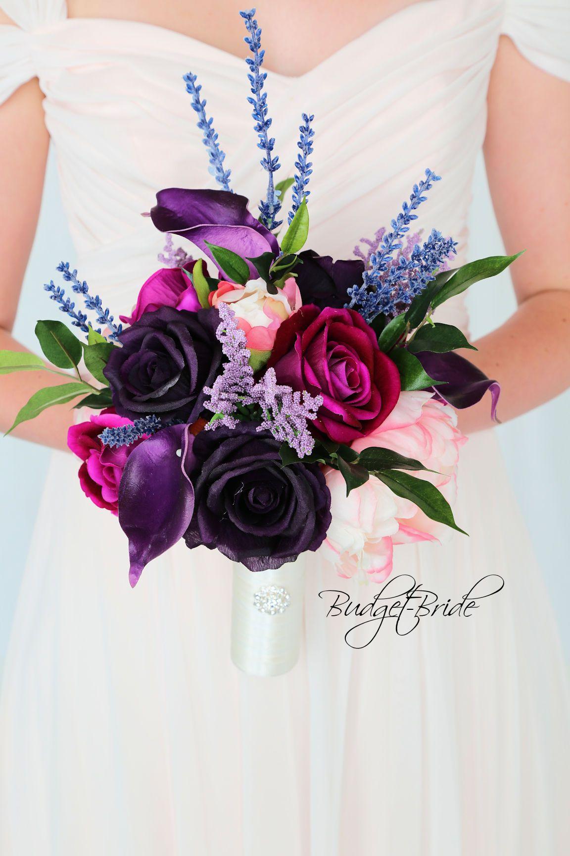 Wedding Flower Ideas In Purples And Pink Wildflower Look Silk Flower