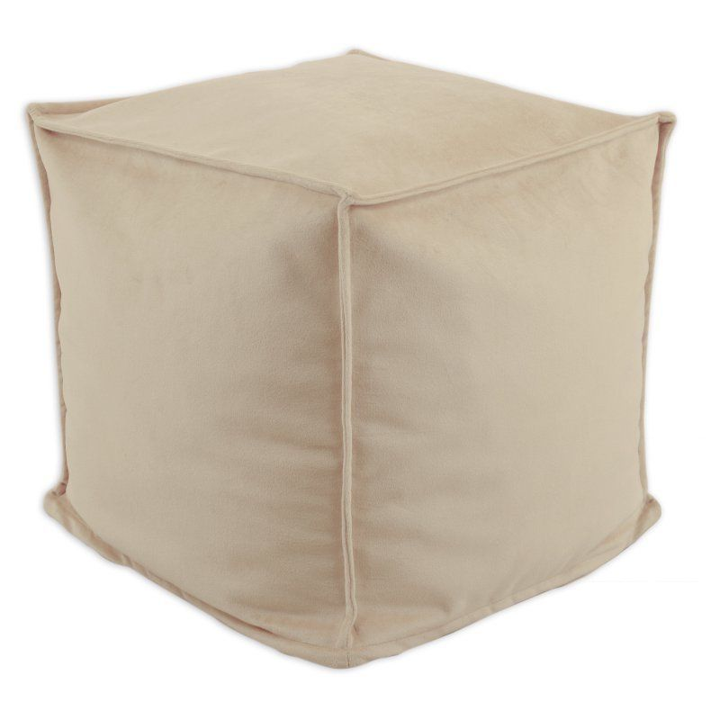 Brite Ideas Decorating Classic Velvet 17 In. Square Seamed Beads Hassock  Pouf Beige   BP17S8705