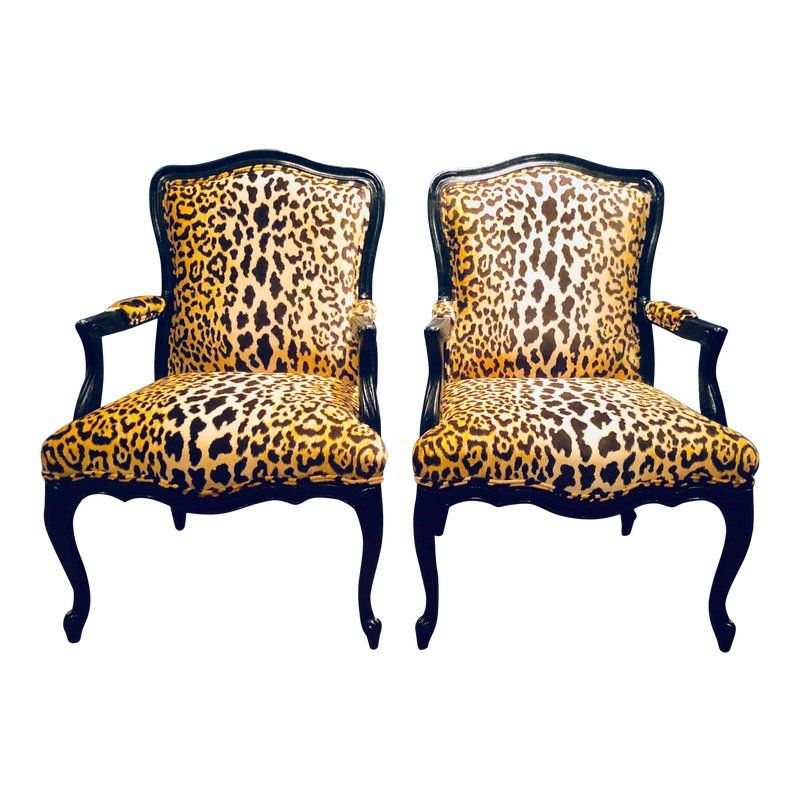 Black Lacquered Jamil Velvet Leopard Armchairs A Pair