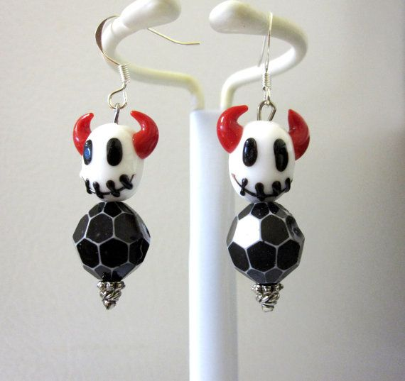 Stitch Devil Skull Earrings Day of the Dead by sweetie2sweetie