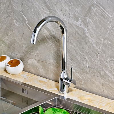 Chrome Finished Countertop Kitchen Sink Faucet Single Handle Hole