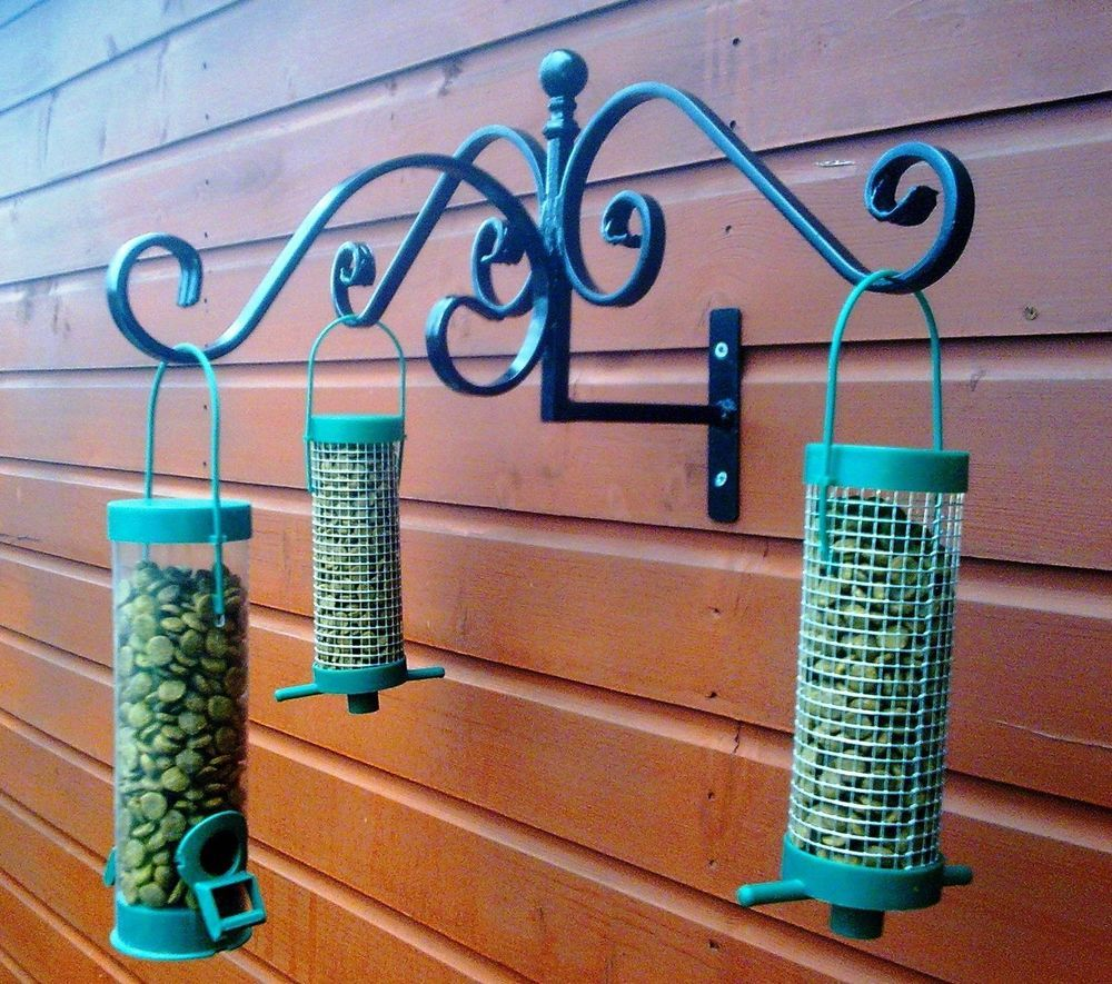 Wild Bird Feeder Station Fence Tree Shed Wall Mounted Wrought