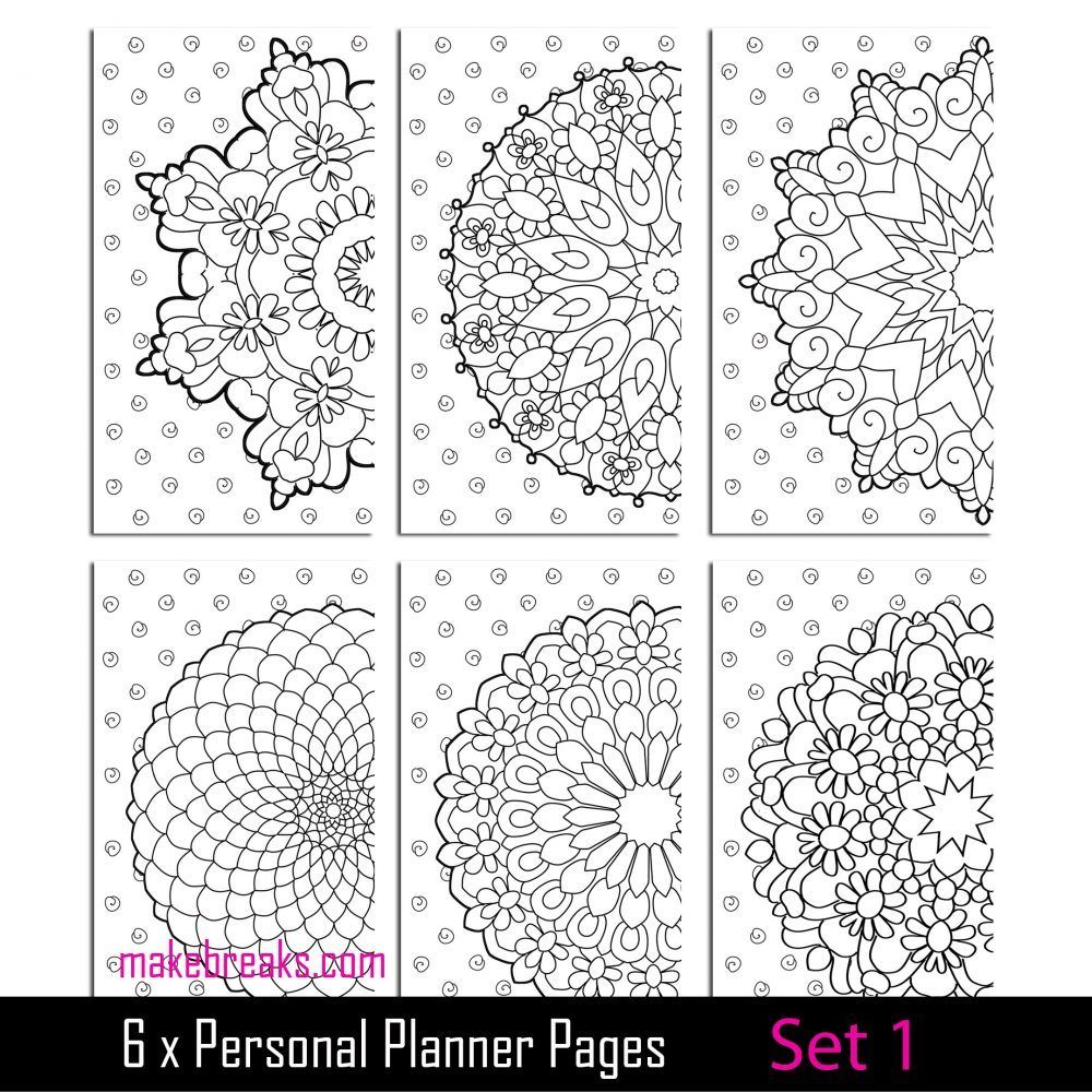 Coloring Page Personal Planner Dividers - Set 1 | Planner ...