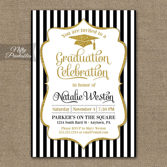 Graduation invitation printable graduation party invites elegant graduation invitation printable graduation party invites elegant black white gold glitter grad class of invitations filmwisefo