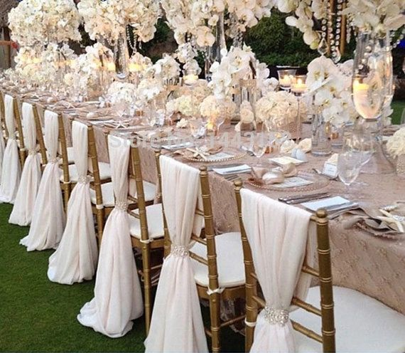 Wedding Chiffon Chair Sash Many Colors Wedding Chair Decor