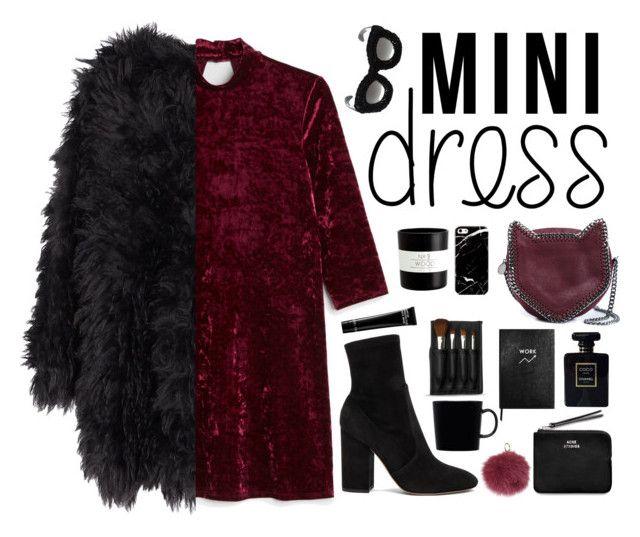 """Contest Holiday Chic: Mini Dresses"" by aaegia ❤ liked on Polyvore featuring Monki, Valentino, STELLA McCARTNEY, MACKINTOSH, Kuboraum, Acne Studios, Chanel, Sloane Stationery, Harrods and Bobbi Brown Cosmetics"