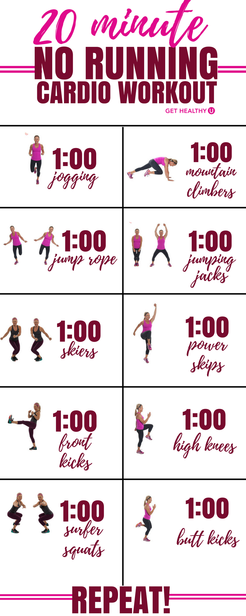 20-Minute No-Running Cardio Workout | Cardio, At home ...