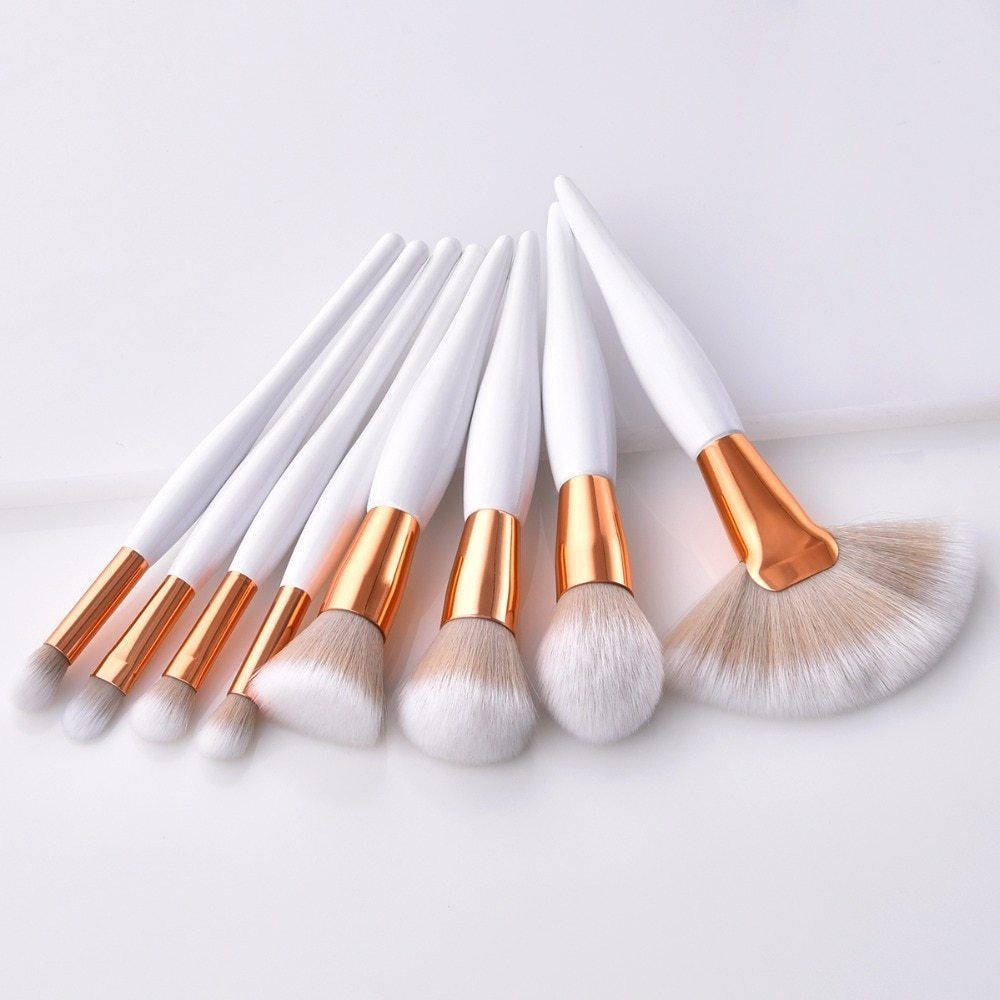 Photo of Details about 8 Pcs/set Makeup Brush Cosmetic Kit Soft Synthetic Head Wood Handle Fan Flat