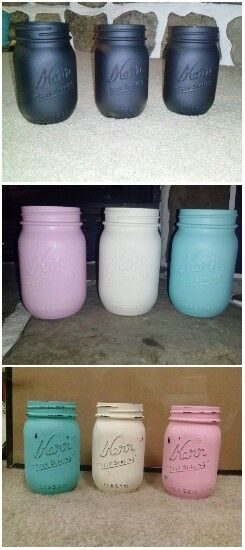 Diy distress mason jar look, How to distress mason jars or any glass vase, spray paint black (or acrylic black paint, whatever u have on hand) paint 2 heavy coats of your choice color acrylic paint, let dry atleast 20 min, & sand with 120 grit sand paper to your desired look, spray light coat of clear spray paint.