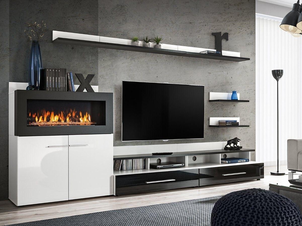 Parete attrezzata vega soggiorno con biocamino e porta tv for Parete attrezzata design moderno